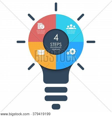 Light Bulb Infographic. Business Idea Concept With 4 Options, Steps Or Elements. Modern Colorful Lam
