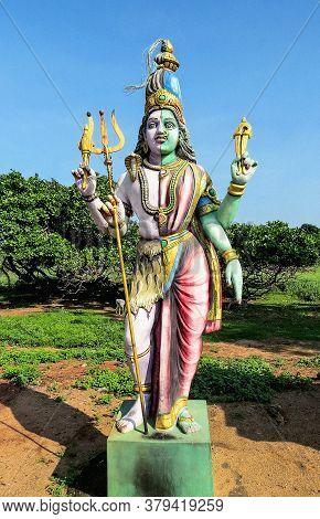 Sample Of Ancient Indian Sculpture Of The Xvii Century - A Statue Of The God Shiva Ardhanarishvara N