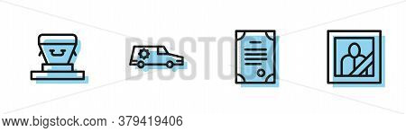 Set Line Death Certificate, Coffin, Hearse Car And Mourning Photo Frame Icon. Vector