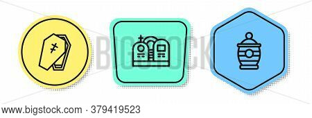 Set Line Coffin With Cross, Grave Tombstone And Funeral Urn. Colored Shapes. Vector