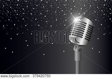 Retro Vintage Metal Microphone On Stand On Black Background With Glare And Lights. Mic With Flare. M