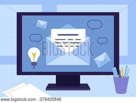 Message By Mail In An Envelope On Computer. Office Worker Workplace With Text Message, Letter, News,