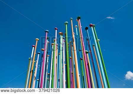 Coloris Installation By Artist Pascale Marthine Tayou Consists Of A Concrete Surface With A Represen