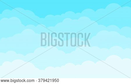 Cloud Sky Cartoon Vector Background. Blue Sky With Fluffy Clouds Pattern. Cartoon Spring Cloudscape