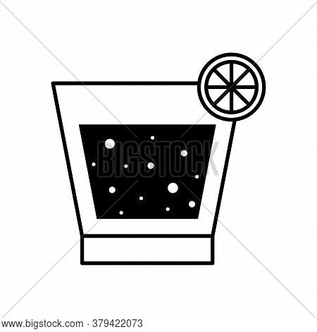 Liquor Cocktail Glass Cup With Lemon Silhouette Style Icon Design, Alcohol Drink Bar And Beverage Th