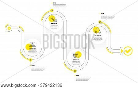 Infographic Timeline With Icons And 4 Steps. Buying Process With Numbers. Infographics Business Conc