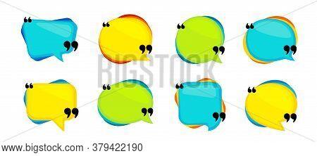 Quotes Dialog Frames. Quote Box, Quotation Speech Bubble. Talk Comment, Memo Bubble, Textbox Dialog.