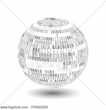 Globe With Binary Code. Ball Of Binary Code. Digital Technology. Data Sorting. Artificial Intelligen