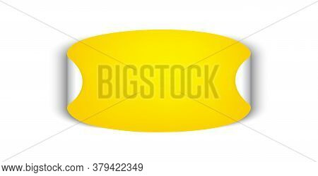 Vector Oval Sticker. Adhesive Symbol. Yellow Paper Tag With Peeling Corner. Isolated Rounded Plastic