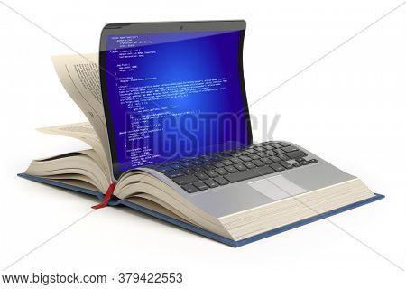 Learning of programming language Javascript, PHP, CSS, XML, HTML. Laptop and book with programming code on the screen. 3d illustration