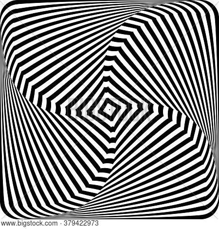 Illusion Of Twisting Rotation Movement. Lines Texture. Abstract Op Art Design. Vector Illustration.