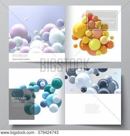 Vector Layout Of Two Covers Templates For Square Bifold Brochure, Flyer, Magazine, Cover Design, Boo
