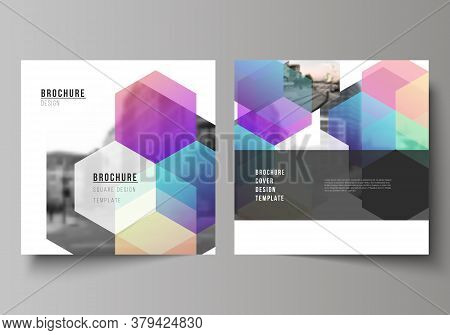 Vector Layout Of Two Square Format Covers Design Templates With Abstract Shapes And Colors For Broch