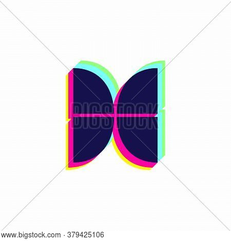 Letter X Logo With Stereo Effect. Vibrant Glossy Colors Font Perfect To Use In Any Disco Labels, Dj