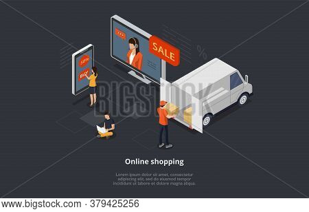 Isometric Online Shopping Concept. Characters Order And Buy Goods On Sale Online By Means Mobile App