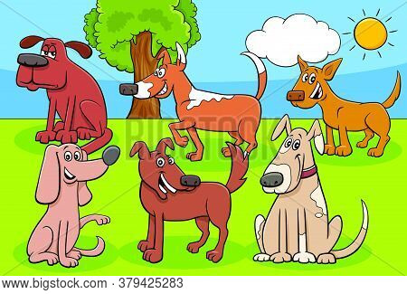 Cartoon Illustration Of Dogs And Puppies Animal Comic Characters Group