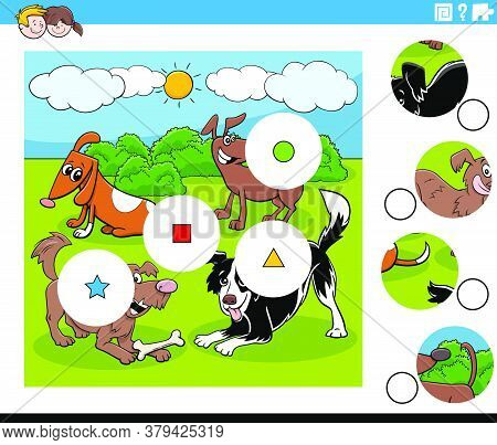 Cartoon Illustration Of Educational Match The Pieces Jigsaw Puzzle Task For Children With Dogs Anima
