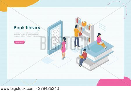 Isometric Online Library Concept. Website Landing Page. Male And Female Characters Are Reading Books