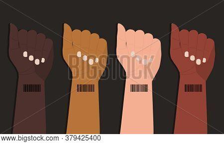 Barcode On Wrist Of Human Hands. Concept Of Global Digitalization And Control. International Struggl