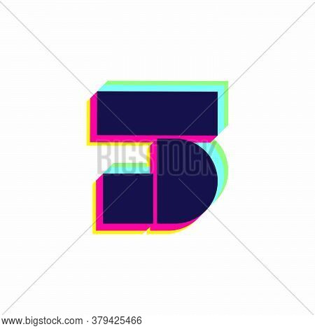 Number Three Logo With Stereo Effect. Vibrant Glossy Colors Font Perfect To Use In Any Disco Labels,