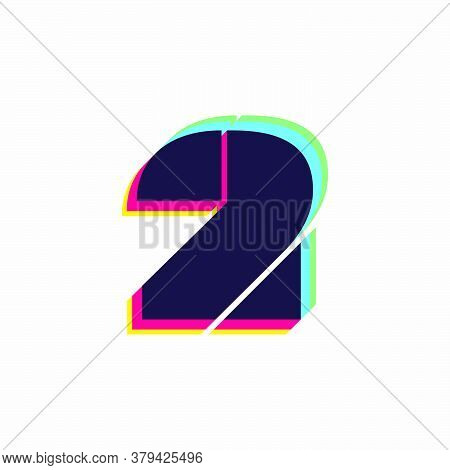 Number Two Logo With Stereo Effect. Vibrant Glossy Colors Font Perfect To Use In Any Disco Labels, D