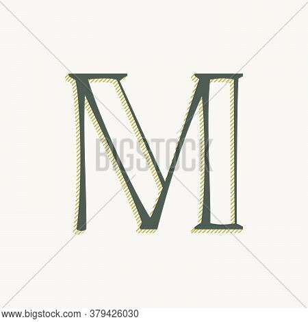 Elegant M Letter Serif Font Logo. Classic Thin Pen Lettering With Shadow Lines. Luxury Vector Illust