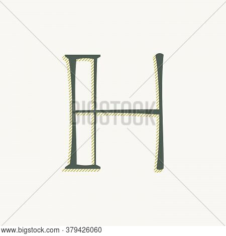 Elegant H Letter Serif Font Logo. Classic Thin Pen Lettering With Shadow Lines. Luxury Vector Illust