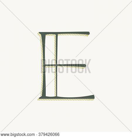 Elegant E Letter Serif Font Logo. Classic Thin Pen Lettering With Shadow Lines. Luxury Vector Illust