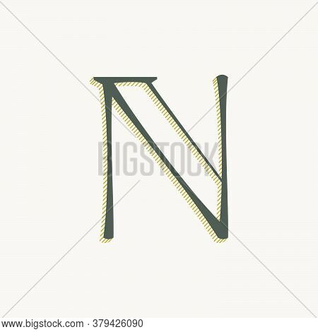 Elegant N Letter Serif Font Logo. Classic Thin Pen Lettering With Shadow Lines. Luxury Vector Illust