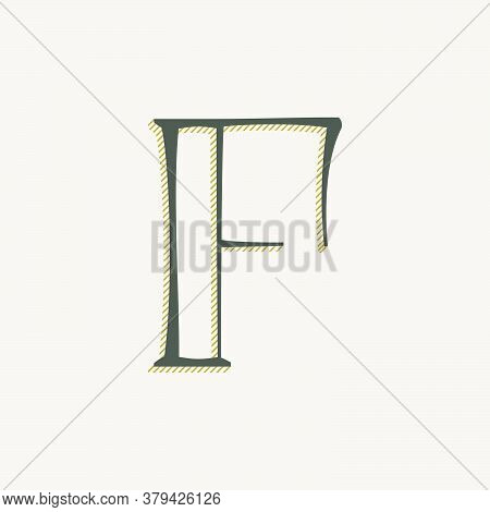 Elegant F Letter Serif Font Logo. Classic Thin Pen Lettering With Shadow Lines. Luxury Vector Illust