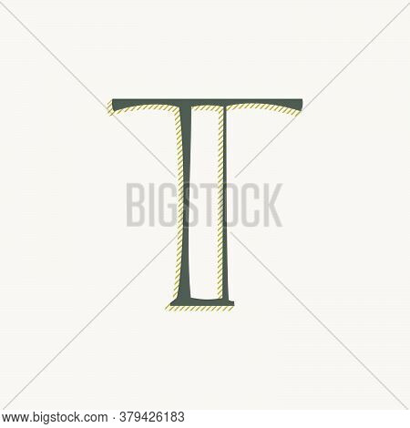 Elegant T Letter Serif Font Logo. Classic Thin Pen Lettering With Shadow Lines. Luxury Vector Illust