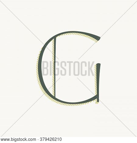 Elegant G Letter Serif Font Logo. Classic Thin Pen Lettering With Shadow Lines. Luxury Vector Illust