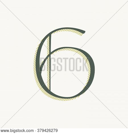 Elegant Number Six Serif Font. Classic Thin Pen Lettering With Shadow Lines. Luxury Vector Illustrat