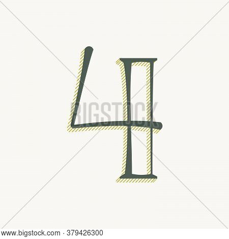 Elegant Number Four Serif Font. Classic Thin Pen Lettering With Shadow Lines. Luxury Vector Illustra