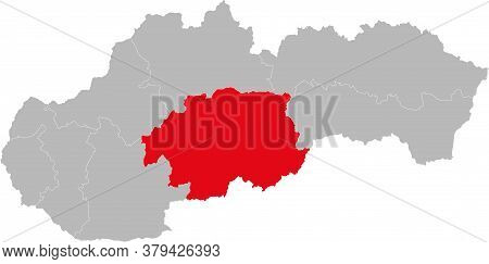 Banska Bystrica Region Isolated On Slovakia Map. Gray Background. Backgrounds And Wallpapers.