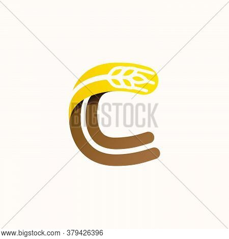 Letter C Logo With Negative Space Wheat. Perfect Vector Font For Bakery Identity, Badges Or Emblems
