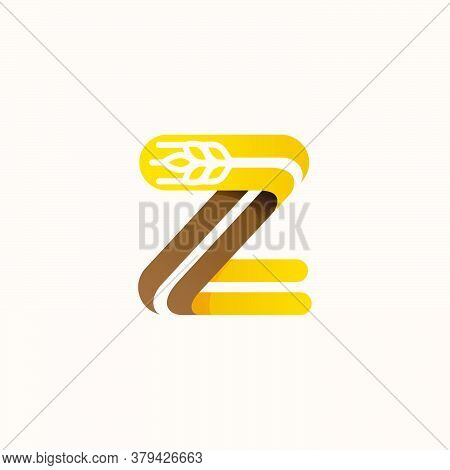 Letter Z Logo With Negative Space Wheat. Perfect Vector Font For Bakery Identity, Badges Or Emblems