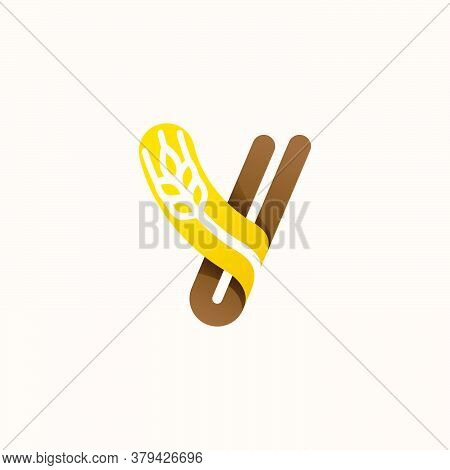 Letter Y Logo With Negative Space Wheat. Perfect Vector Font For Bakery Identity, Badges Or Emblems