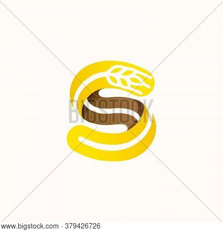 Letter S Logo With Negative Space Wheat. Perfect Vector Font For Bakery Identity, Badges Or Emblems
