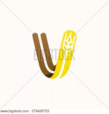 Letter V Logo With Negative Space Wheat. Perfect Vector Font For Bakery Identity, Badges Or Emblems