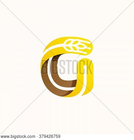Letter G Logo With Negative Space Wheat. Perfect Vector Font For Bakery Identity, Badges Or Emblems