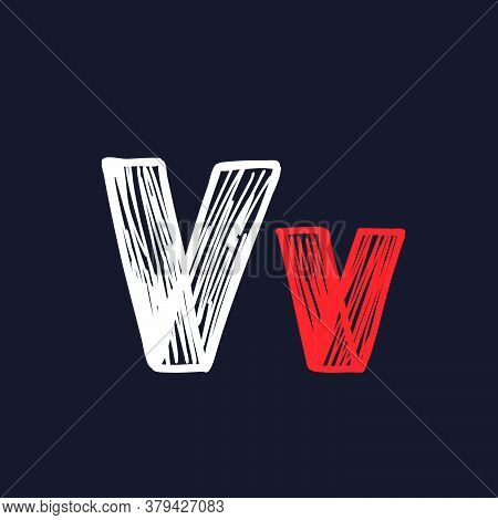 V Letter Hand-drawn By Chalk On A Blackboard. This Font Is Perfect For A School Signboard, Advertisi