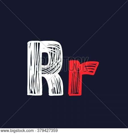 R Letter Hand-drawn By Chalk On A Blackboard. This Font Is Perfect For A School Signboard, Advertisi