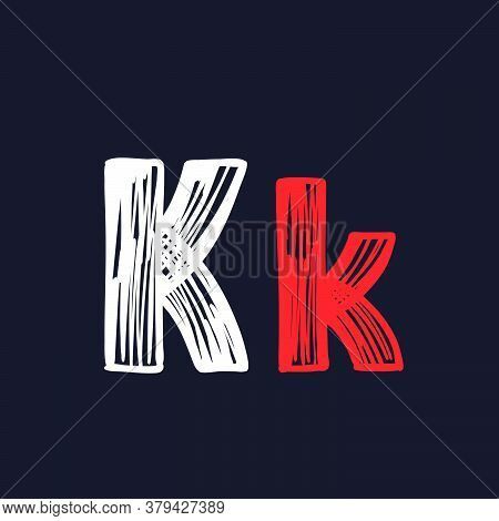 K Letter Hand-drawn By Chalk On A Blackboard. This Font Is Perfect For A School Signboard, Advertisi