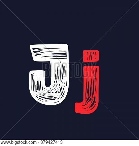 J Letter Hand-drawn By Chalk On A Blackboard. This Font Is Perfect For A School Signboard, Advertisi