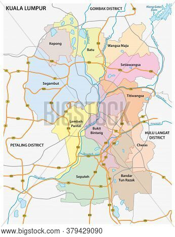 Administrative And Road Vector Map Of The Malaysian Capital Kuala Lumpur