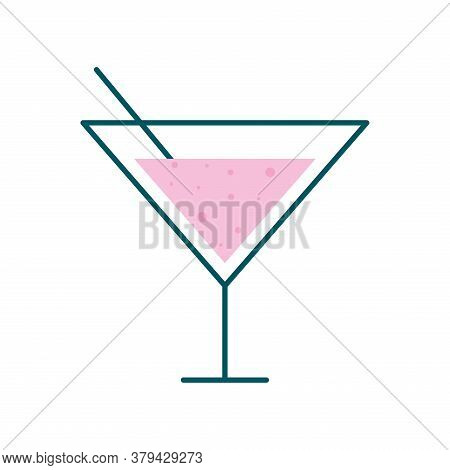 Martini Cocktail Glass Cup With Straw Line And Fill Style Icon Design, Alcohol Drink Bar And Beverag