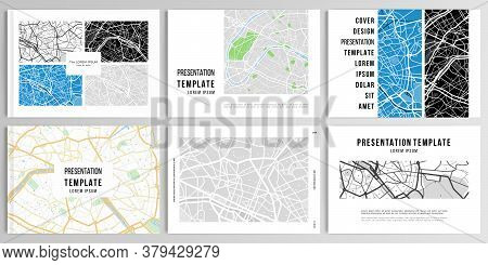 Vector Layouts Of Presentation Design Templates With Urban City Map Of Paris For Brochure, Cover Des