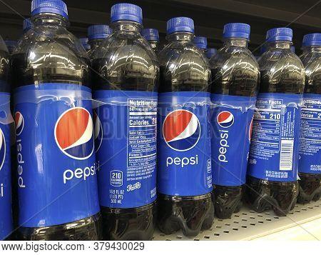 Kokomo - Circa July 2020: Pepsi Bottles On Shelf. Pepsi Is One Of The Largest Beverage Producers In