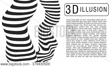Optical Illusion Spiral. Abstract 3d Black And White Illusions. Horizontal Lines Stripes Pattern Or